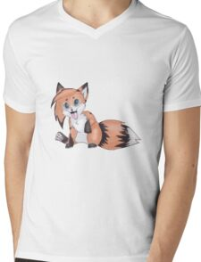 Cute Smiling Fox Mens V-Neck T-Shirt