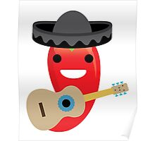Spicy Chili Emoji Happy Smiling Face with Guitar Poster