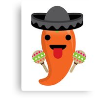 Spicy Chili Emoji Tongue Out Canvas Print