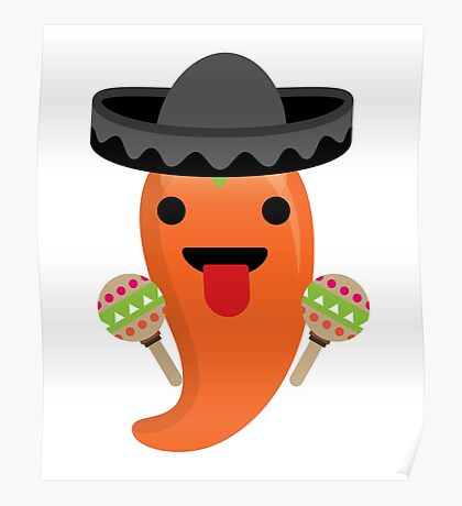 Spicy Chili Emoji Tongue Out Poster