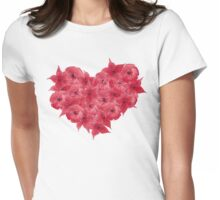 Watercolor Red flowers in the shape of a heart.  Womens Fitted T-Shirt