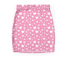 Sweet Hearts on Pink Background Mini Skirt
