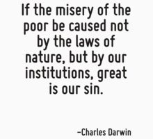If the misery of the poor be caused not by the laws of nature, but by our institutions, great is our sin. by Quotr