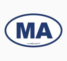 Massachusetts MA Euro Oval BLUE Kids Clothes