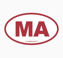 Massachusetts MA Euro Oval RED Kids Clothes