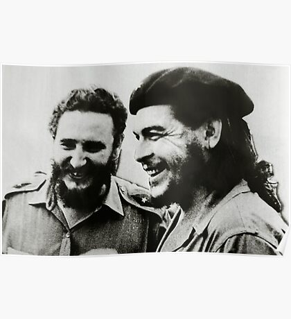 Che Guevara and Fidel Castro laughing Poster