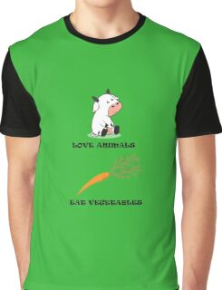 Love Animals Eat Vegetables Graphic T-Shirt