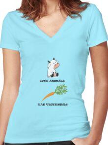 Love Animals Eat Vegetables Women's Fitted V-Neck T-Shirt