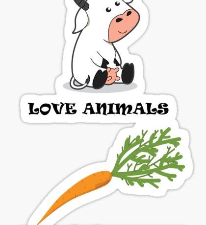 Love Animals Eat Vegetables Sticker