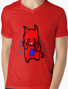 Sad Monster Mens V-Neck T-Shirt