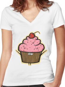 Cupcake Creature Women's Fitted V-Neck T-Shirt