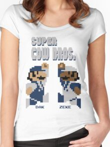 Super Cow Bros. (Blue/Silver) Women's Fitted Scoop T-Shirt