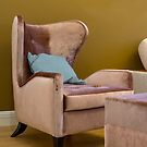 wing chair with blue cushion by mrivserg