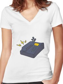 cartoon office telephone Women's Fitted V-Neck T-Shirt