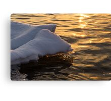 Icy Golds - Glowing Icicles Reflected on Silky Water Canvas Print