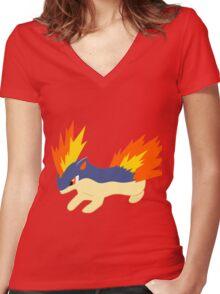 Quilava (pokemon) Women's Fitted V-Neck T-Shirt