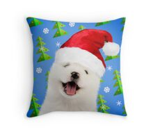 Happy Samoyed puppy dog wearing Christmas hat Throw Pillow