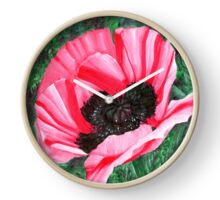 Pink Poppy Flower - Pigment Marker Drawing Clock