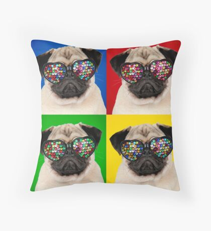 Four colour cute Pug wearing heart shaped glasses Throw Pillow