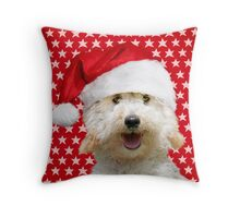 Happy Poodle dog wearing a Christmas hat Throw Pillow