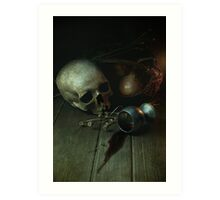 Still Life With Human Skull And Silver Chalice Art Print
