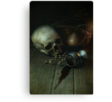 Still Life With Human Skull And Silver Chalice Canvas Print