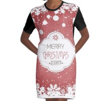 Grunge Christmas And New Year Background Graphic T-Shirt Dress