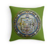 Tibetan Mandala green Throw Pillow