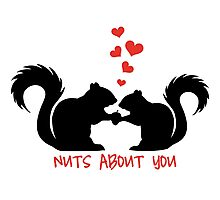 Nuts about you, squirrels in love Photographic Print