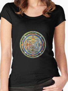 Tibetan Mandala red Women's Fitted Scoop T-Shirt