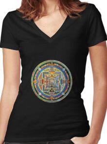 Tibetan Mandala red Women's Fitted V-Neck T-Shirt
