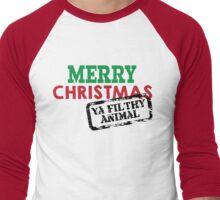Merry Christmas Ya Filthy Animal Men's Baseball ¾ T-Shirt