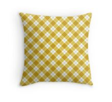 Yellow and White Argyle Pattern Throw Pillow