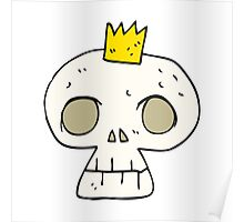 cartoon skull with crown Poster