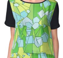 Mid-Century Modern Abstact, Lime Green and Yellow Chiffon Top