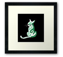 Green abstract cat  Framed Print