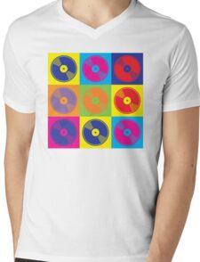 Pop Art Vinyl Records Mens V-Neck T-Shirt