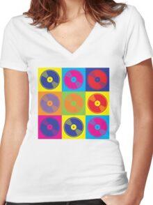 Pop Art Vinyl Records 2 Women's Fitted V-Neck T-Shirt