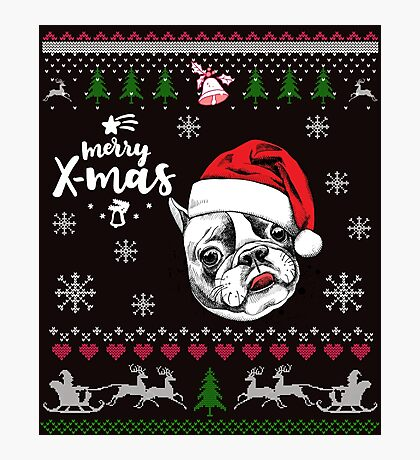 Ugly christmas is better with a pittbull Photographic Print