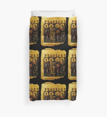 BIBLE, Twelve Disciples, Synaxis, Christianity, Twelve Apostles, Russian, 14th century, Moscow Museum. Duvet Cover