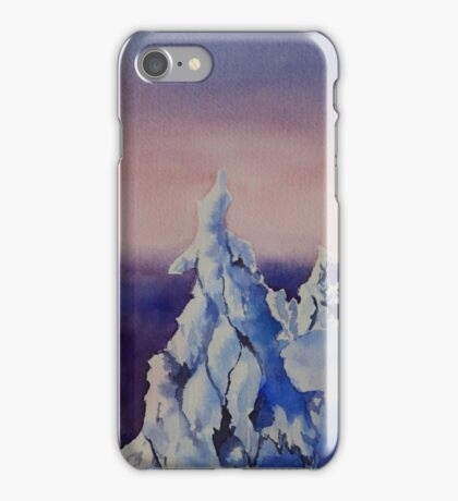 Watercolor painting of winter sunset landscape iPhone Case/Skin