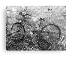 Rustic Old Bike Against Building Metal Print