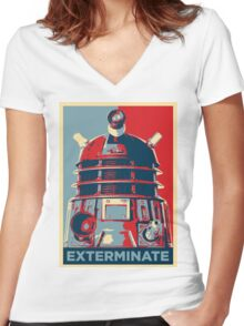 'Exterminate' (Obama style) T-shirt Women's Fitted V-Neck T-Shirt
