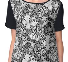 William Morris Iris and Lily, Black and White Chiffon Top