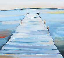 water and dock painting by clairewhitehead