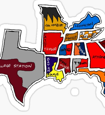 SEC South Eastern Conference With Cities Sticker