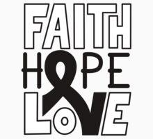 Faith Hope Love - Melanoma Cancer Awareness Kids Tee