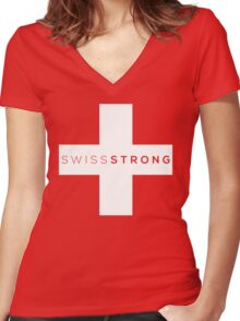 SWISS STRONG Women's Fitted V-Neck T-Shirt