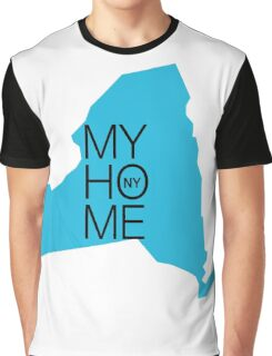 New york my home. State map NY Graphic T-Shirt