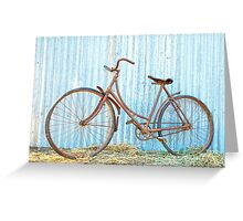 Antique Ladies bicycle... barn find ....40 years rusted. Greeting Card